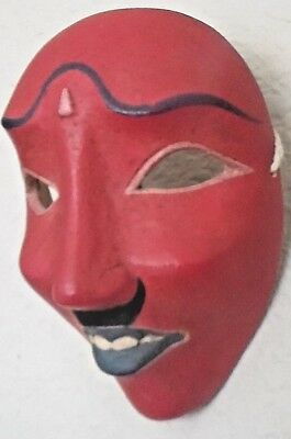 Beautiful Red, Carved Wooden, Hand painted Mask, made in Indonesia