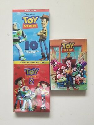 Toy Story Trilogy 1-3 1 2 3  DVD Disney Movie Bundle Free Shipping USA!