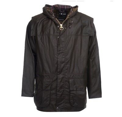 Men's Barbour Lined Durham Hooded Waxed Jacket Size C38 / 97cm Genuine Casual BN