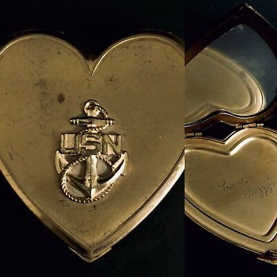 Unusual WW2 Era US Navy Sweetheart Locket Compact With Mirror Inscribed Gold