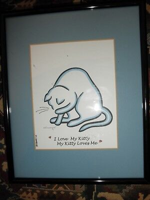 Framed & Matted Cat Print, I LOVE MY KITTY, Signed Champe, 2004