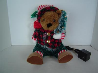 Christmas Sparkling Holiday Fiber Optic Teddy Bear Color Changing 2003 Avon Nice