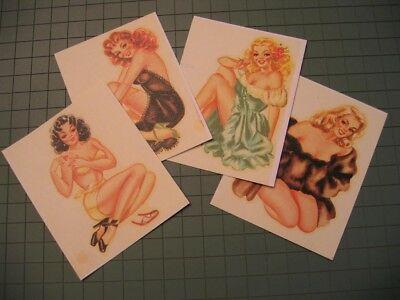 4 Pin-Up  Girl 1950's  Vintage style Travel tool box Decal Stickers hot rat rod