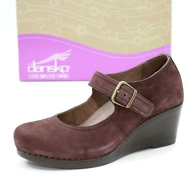 16acbdede9c9 DANSKO Ladies 39 (~8.5) Sandra Mary Jane Wedge Raisin Nubuck Leather Wedge  Heels