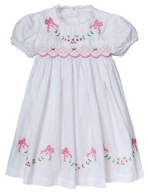 "Aurora Royal  Floral Print Cotton Longsleeved Hand-Smocked /""Josephina/"" Dress"