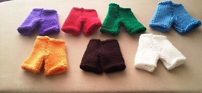 "Teddy Bear Clothes Hand Knitted Trousers 8"" Small Solid Colour"