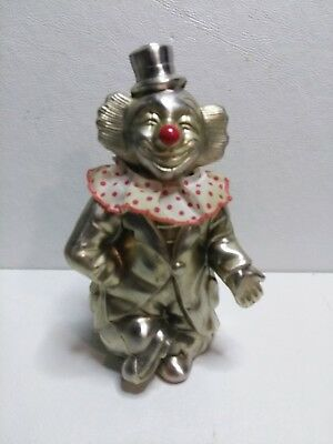 "Vintage Chrome Silver Plate Clown Bank 6 1/2"" Tall 1950's - 1960's"