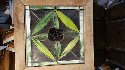 Stained Glass Window, Framed, Hand Crafted Vintage 2' square Beautiful