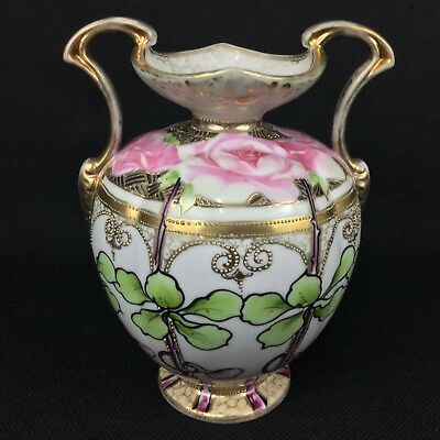 "Antique Nippon 8 7/8"" Double-Handled Vase Roses Gold Moriage Maple Leaf Mark"