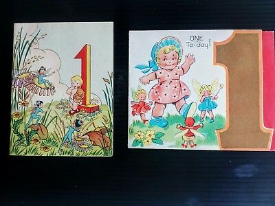 Two Vintage 1 Year Old Birthday Cards 1946