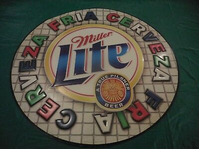 Vtg Miller Lite Beer Advertising Embossed Tin Sign Pilsner Beer Man Cave Decor