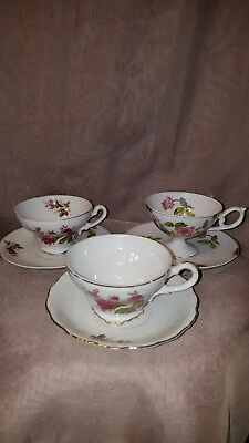 Lot Of 3 Vintage Tea Cups And Saucers Roses!