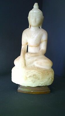 Statue Buddha carved stone ancient 17th century or older with wooden stand