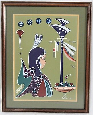 Adee Dodge 1975 Original Painting The Banner Carrier Navajo Native American