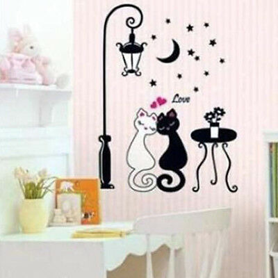 Black Love Cat Couple Street Lamp Moon Night Home Wall Sticker Decal Vinyl G