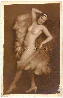 Vintage 1900s-30s French Nude RPPC- Pola Wray- Cabaret Burlesque Dancer- Feather