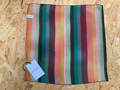 BNWT Men's Designer Paul Smith 100% Silk Striped Pocket Square Handkerchief