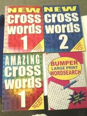 4 PUZZLE BOOKS 3 Crossword 1 Large Print Wordsearch Book 644 puzzles altogether
