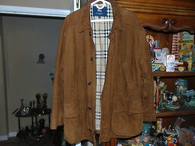 Vintage Mens Burberry London Brit Plaid Brown Suede Leather Thinsulate Jacket  M