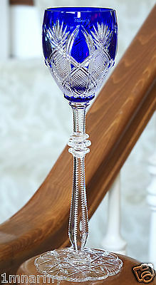 Faberge Imperial Czar Wine Glass Goblet Cobalt Blue Cased Crystal Signed