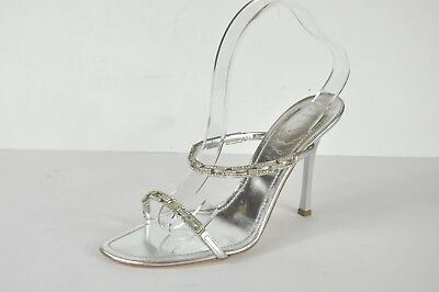 34413a7d2750d2 Rene Caovilla Metallic Silver Leather Crystal Embellished Slide Sandals  Size 41