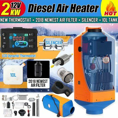 12V 2KW Diesel Air Parking Heater Air Heating LCD Thermostat with Silencer FR