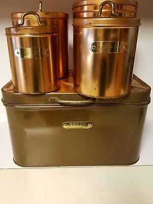 Vintage Canister Set, metal breadbox, copper canister sets, vintage bristol ware