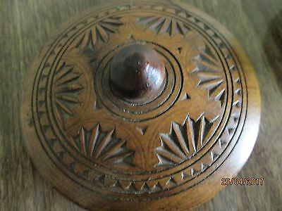"vintage wooden treen trinket jar 2"" tall"
