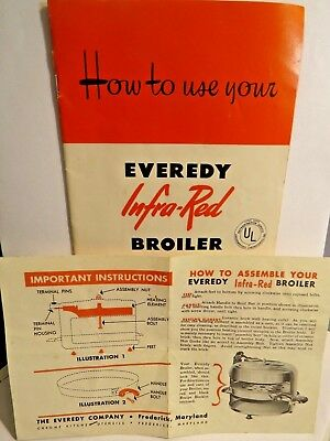 1952 Everedy Infra-Red Broiler Care & Use Manual + Instruction Sheet - Ad