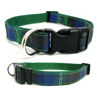 B&C Soft Adjustable Tartan, Check, Plaid Nylon Dog Collars & Leads  Green Tartan