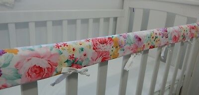Cot Rail Cover Pink Floral Crib Teething Pad Peony Roses x 1