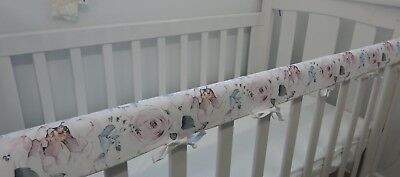 Cot Rail Cover Floral Crib Teething Pad Savannah Rose x 1