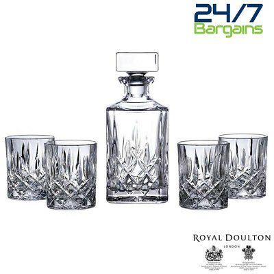 Royal Doulton Crystal Seasons Decanter Set Plus Six Tumblers-Brand New