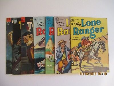 Lot Of (7) The Lone Ranger Dell Golden Age Comic Books 1950