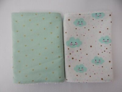Burp Cloths Clouds Stars and Hearts Mint 2 Pack Toweling Backed GREAT GIFT IDEA!