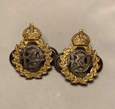 Very RARE King's Crown Royal Canadian Dental Corps Officer Gilt Badge Pair