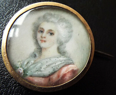 Superb French Antique Victorian Hand Painted Lady Portrait Miniature Pin Brooch