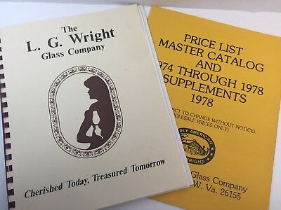 "COLLECTIBLE REFERENCE BOOK ""L G WRIGHT GLASS CO""  1978 + 1987 price list"
