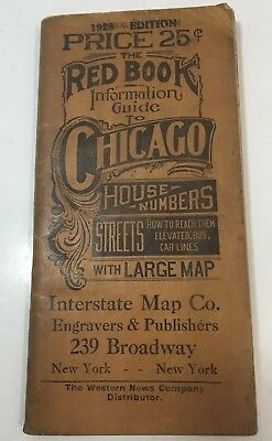 VINTAGE RED BOOK FOR CHICAGO STREETS,by Interstate Maps 1928 SOFT COVER