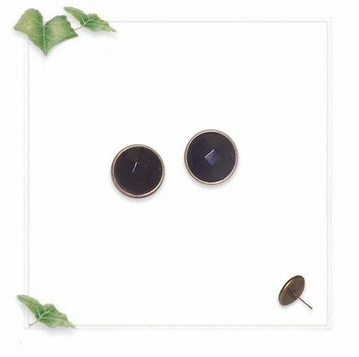 16mm Earrings Pierced Posts - Antique Brass Setting & Black Faceted - Resin