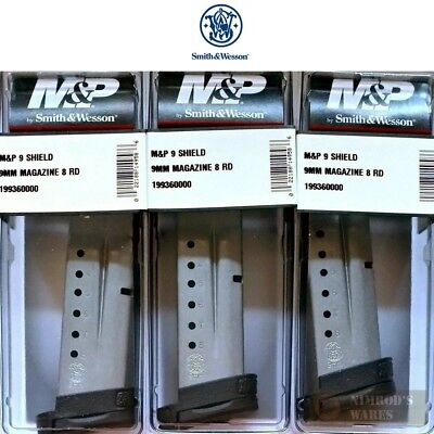 THREE Smith & Wesson M&P SHIELD MAGAZINES 9mm 8 Rounds 19936 S&W FAST SHIP