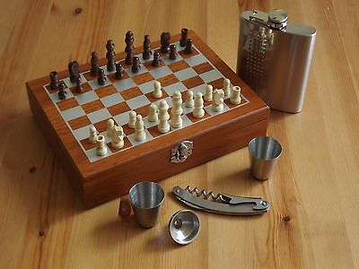 Wood Chess Game Gift Set With 8 oz. Stainless Steel Flask 2 Shot & Wine Opener