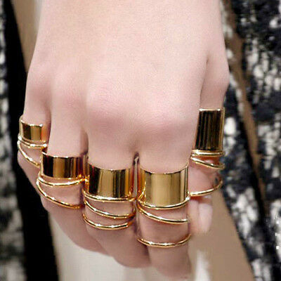 9PCS Gold Tone Punk Wide Band Ring Stack Plain Knuckle Midi Mid Rings Set ZXFD