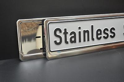 2 x CHROME STAINLESS STEEL NUMBER PLATE SURROUNDS HOLDERS FRAMES  - ANY VEHICLE