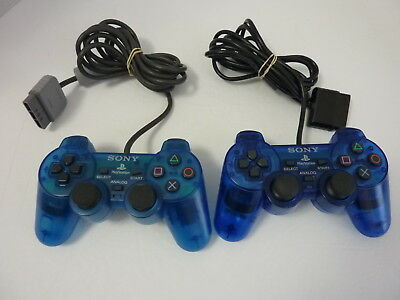 2 Lot - Playstation 2 PS2 Official Sony Clear Blue Dualshock Controller - TESTED