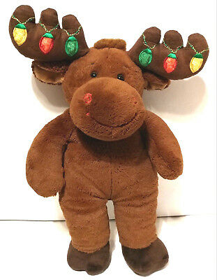 """Build A Bear 16"""" Christmas Moose Brown Light Up Antlers Retired Works Great Gift"""