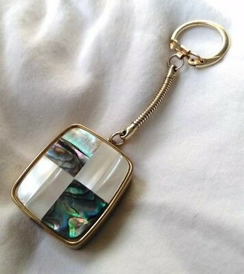 Vintage Sankyo Clover Music Box Key Chain Mother Of Pearl Abalone
