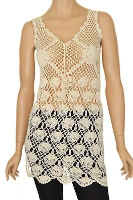 FASHION SZ 8-10 WOMENS Cream Crochet Stretch Knit Sleeveless Long Top