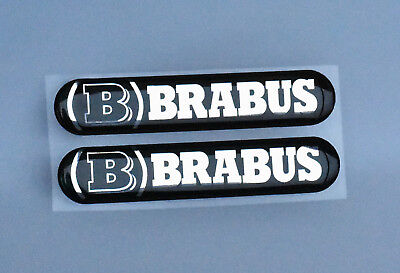 Smart 450 451 453 454 Mercedes-Benz (B) Brabus 3D domed stickers black/chrome-2x