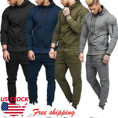 Mens Slim Fit Jogging Tracksuit Sports Gym Sweat Suit Athletic Apparel Outfit